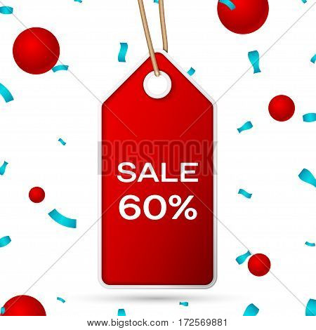 Red pennant with an inscription Big Sale sixty percent Discounts over a white background and confetti. Sale concept for shops store market, web and other commerce. Vector illustration.