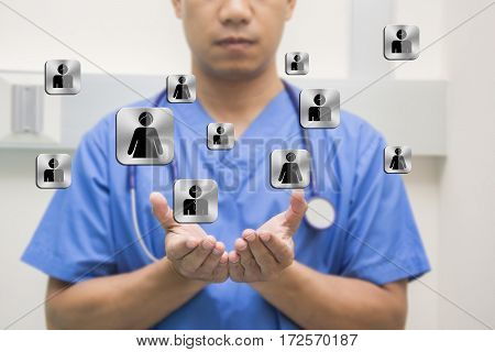 men doctor show hand stetoscope on the neck selective focus hands logo human