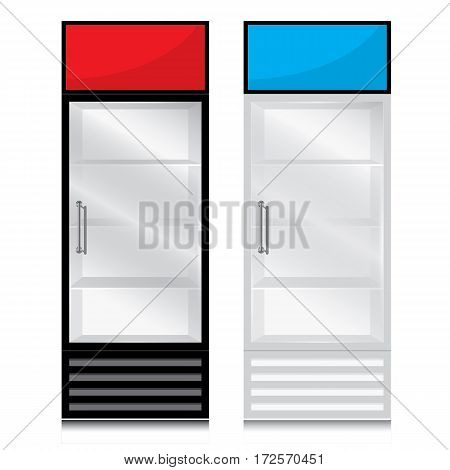 Glass door fridge with door handle open on the right. Glass door fridge Black White and sign on white background.