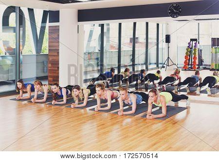 Fitness club workout. Group of young women in class. Strong sporty girls do plank for abs exercise. Aerobics training, healthy lifestyle.