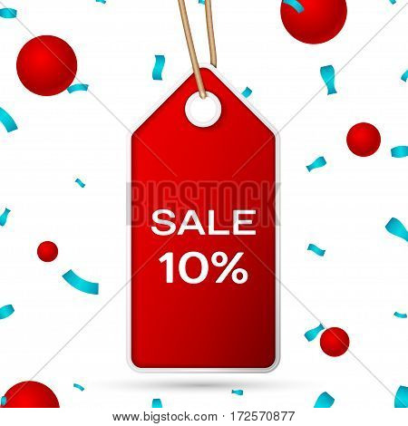 Red pennant with an inscription Big Sale ten percent Discounts over a white background and confetti. Sale concept for shops store market, web and other commerce. Vector illustration.