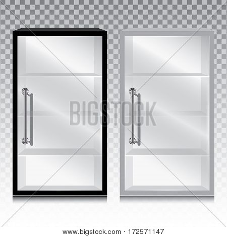 Empty glass cabinet with the door handle isolated on transparent background.