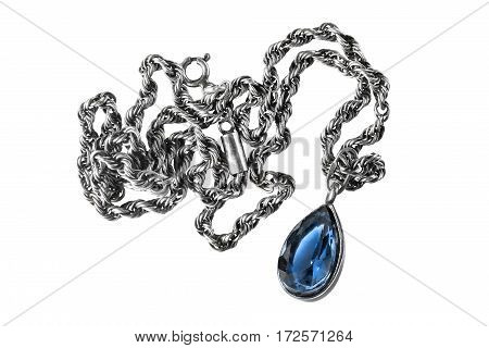 Blue sapphire drop shaped pendant on white background