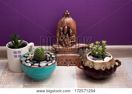 lingam and succulents in ceramic pots on purple background wall.