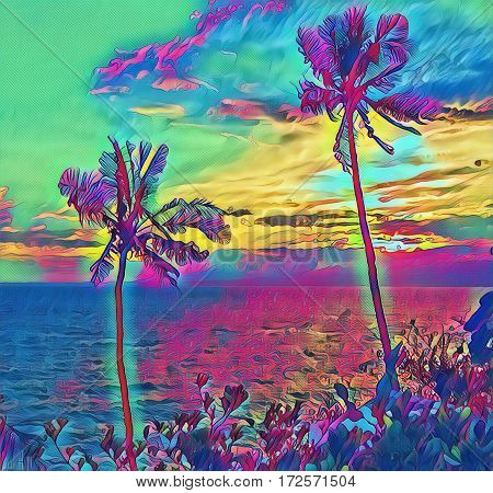 Palm trees during sunset. Seaside sunset with palm tree silhouettes. Fantastic natural landscape with sun and clouds. Digital illustration with seascape with sun reflection. Colorful tropical artwork