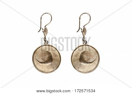 Vintage bronze ethnic earrings isolated over white