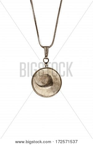 Vintage medallion on a chain isolated over white