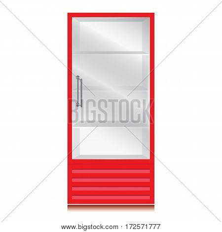 Glass door fridge with door handle. Glass door fridge with Red color on white background.
