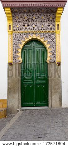 Ancient door of the old town (Medina) in Tanger Morocco Africa
