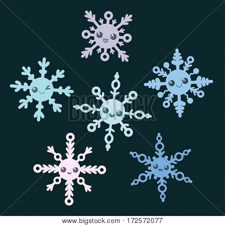 Set of snowflakes. 6 cute snowflakes with smile