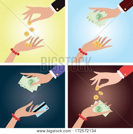 Payment methods. Vector illustrations. Currency exchange. 4 illustrations