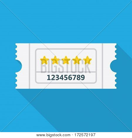 Ticket icon. Vector illustration. on a blue background with shadow