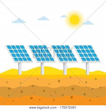 Solar panels in the desert Alternative energy vector illustration.