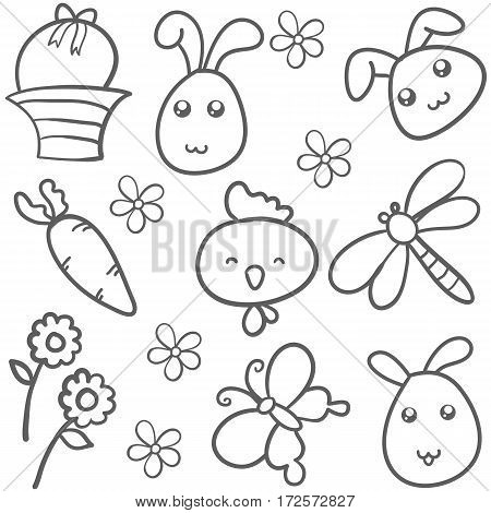 Doodle of easter with bunny flower vector art