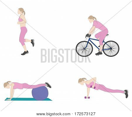 exercises for women. for good health and shape. vector illustration.
