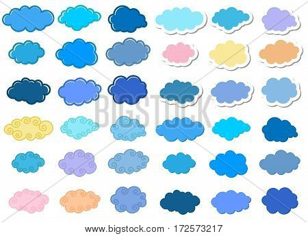 Cartoon clouds set. Vector stickers on white background