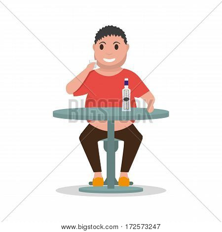 Vector illustration cartoon man alcoholic drink alcohol alone at table. Isolated white background. Concept of male alcohol dependence, addict human, abuse. Flat style. Man drunkard.