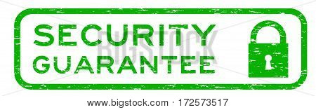 Grunge green security assurance with lock icon square rubber seal stamp