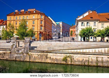 Ljubljana Fountain And Riverfront Square View