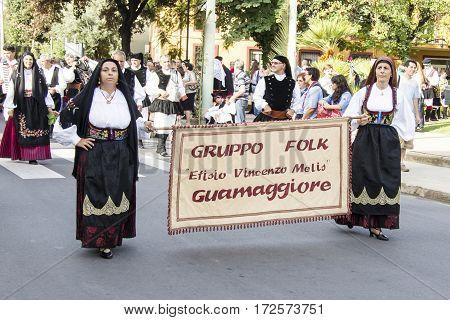 SELARGIUS, ITALY - September 8, 2013: Former marriage Selargino - Sardinia - Parade of folk group Efisio Vincenzo Melis Guamaggiore