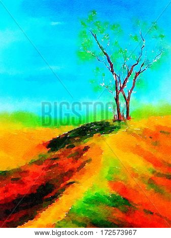 Very Nice landscape watercolor painting