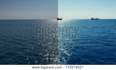 Photo before and after the image editing process. Mediterranean sea ships