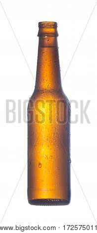 open misted over a bottle of dark glass of beer isolated on white background
