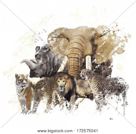 Digital Painting of  Wild Animals