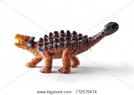 Saichania dinosaur toy isolated on white background with clipping path. Genus of herbivorous ankylosaurid dinosaur from the Late Cretaceous period of Mongolia and China.