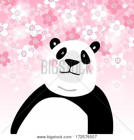 Cute giant panda bear with pink cherry blossoms background. Kids poster or birthday greeting card. Vector illustration.