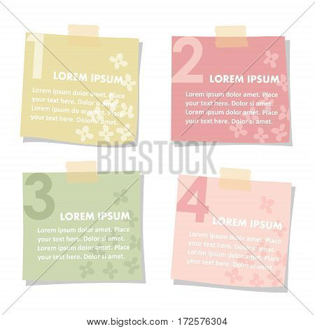 Set of sticky notes papers with flowers. Spring colors, flat design., vector illustrations isolated on white background