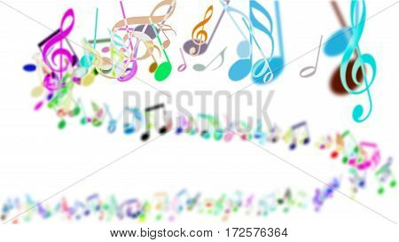 Aa abstract blurred Background with Colorful Music notes.