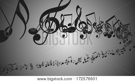 An abstract Background with Colorful Music notes.