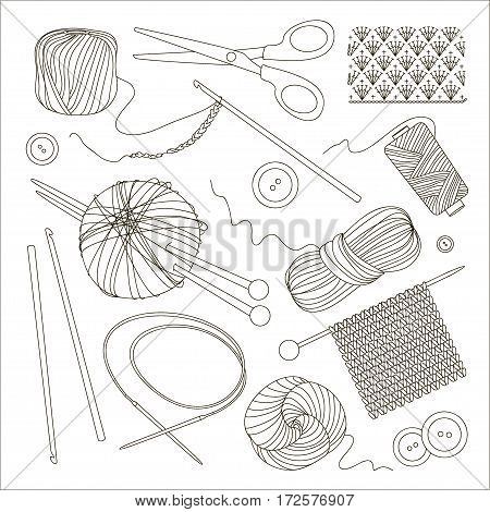 Knitting and crochet set. Vector illustration, EPS 10