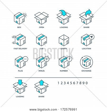 Set of color box icons for delivery and logistic isolated on white background. Vector Ilustration