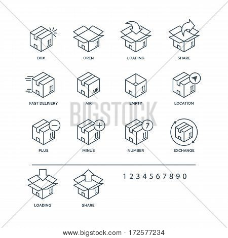 Set of box icons black color for delivery and logistic isolated on white background. Vector Ilustration