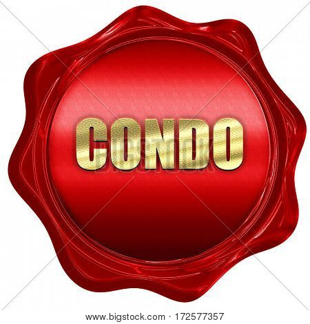 condo, 3D rendering, red wax stamp with text