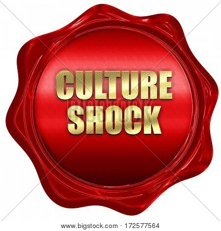 culture shock, 3D rendering, red wax stamp with text