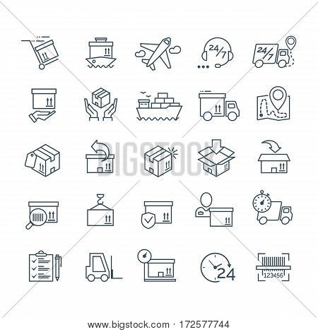 Set of delivery icons black color for your app design project. Logistic icons. Vector Ilustration
