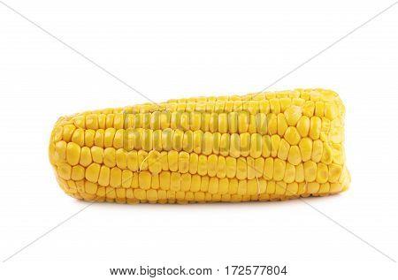 Single ripe corncob isolated over the white background