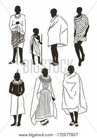 Maasai couple african people in traditional clothing. Vector illustration, EPS 10