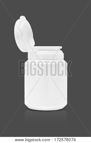 blank packaging supplement product bottle isolated on gray background with clipping path