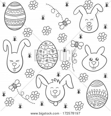 Doodle of easter style with bunny and egg vector art