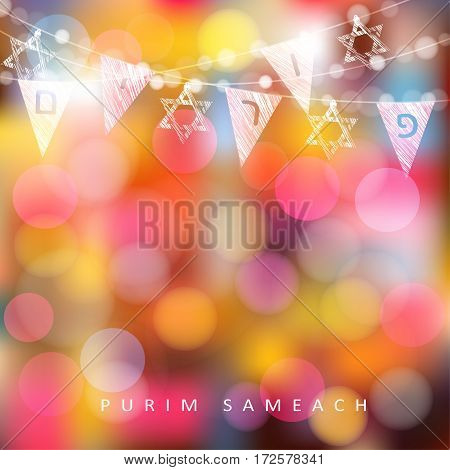 Festive colorful greeting card, invitation with string of lights, Jewish stars and party flags with Jewish letters meaning Purim. Modern blurred vector illustration background.
