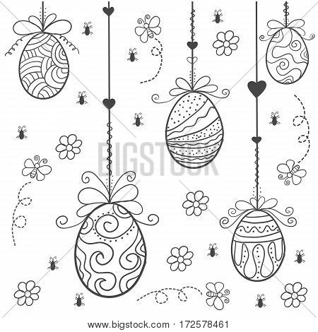 Doodle of easter egg style hand draw vector art