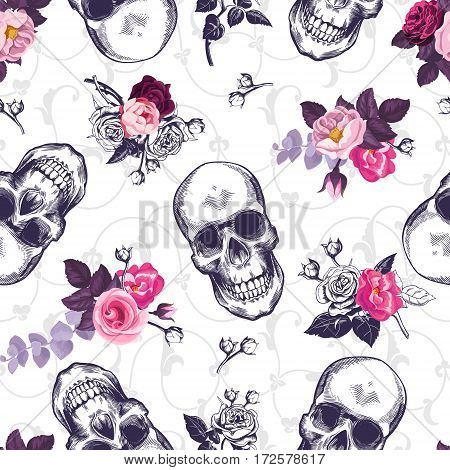 Seamless pattern with human skulls and half colored bunches of flowers in woodcut style and baroque ornament on background. Vintage backdrop. Vector illustration for wallpaper, textile print, poster