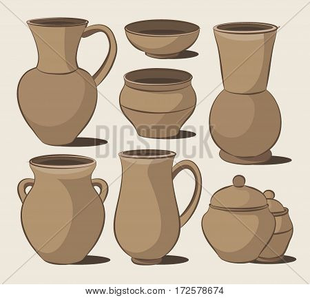 Rustic ceramic utensils, colored vector images for design and illustration.