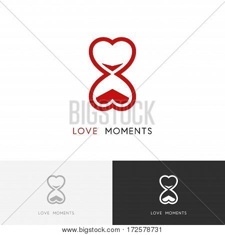 Moments of love logo - hourglass or sandglass and heart symbol. Time and date vector icon.