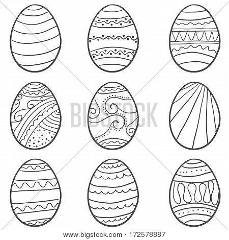 Hand draw easter egg doodle set vector art