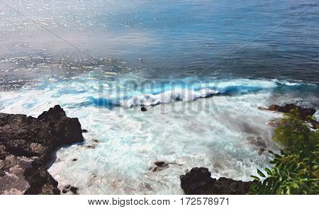 Sea wave over stones. Black rocks beach with high tide. Sea landscape digital illustration. Painted style seascape with waves and foam. Tropical holiday and travel image. Volcanic island sea view